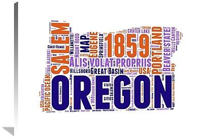 Naxart 'Oregon Word Cloud Map' Textual Art on Wrapped Canvas; 30'' H x 40'' W x 1.5'' D