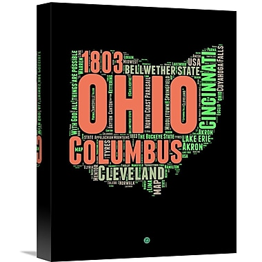 Naxart 'Ohio Word Cloud 1' Textual Art on Wrapped Canvas; 16'' H x 12'' W x 1.5'' D