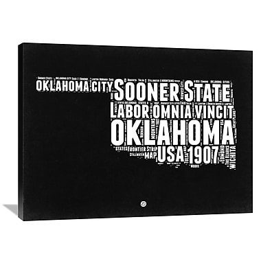 Naxart 'Oklahoma Map' Textual Art on Wrapped Canvas; 30'' H x 40'' W x 1.5'' D