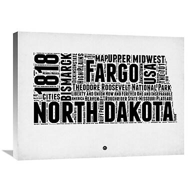 Naxart 'North Dakota Word Cloud 2' Textual Art on Wrapped Canvas; 24'' H x 32'' W x 1.5'' D