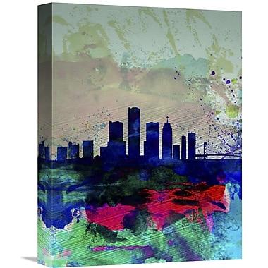 Naxart 'Detroit Watercolor Skyline' Graphic Art on Wrapped Canvas; 16'' H x 12'' W x 1.5'' D