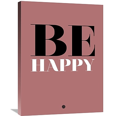 Naxart 'Be Happy Poster 2' Textual Art on Wrapped Canvas; 32'' H x 24'' W x 1.5'' D