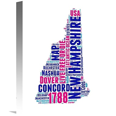 Naxart 'New Hampshire Word Cloud Map' Textual Art on Wrapped Canvas; 16'' H x 12'' W x 1.5'' D