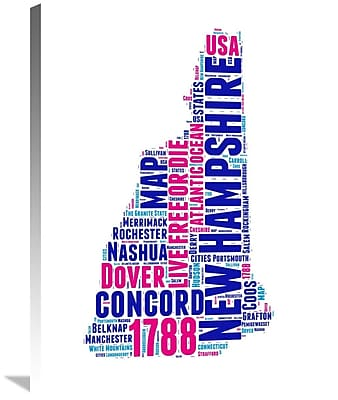 Naxart 'New Hampshire Word Cloud Map' Textual Art on Wrapped Canvas; 32'' H x 24'' W x 1.5'' D