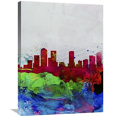 Naxart 'Denver Watercolor Skyline' Graphic Art on Wrapped Canvas; 32'' H x 24'' W x 1.5'' D