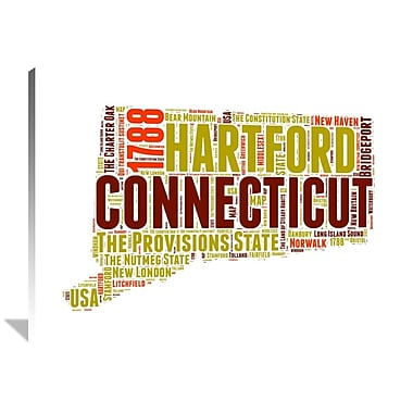 Naxart 'Connecticut Word Cloud Map' Textual Art on Wrapped Canvas; 36'' H x 48'' W x 1.5'' D