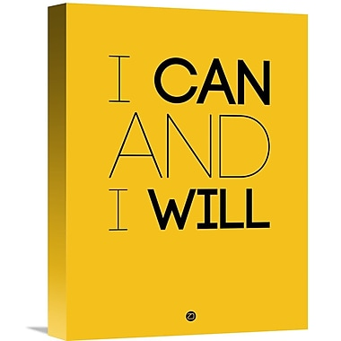 Naxart 'I Can and I Will Poster 2' Textual Art on Wrapped Canvas; 16'' H x 12'' W x 1.5'' D
