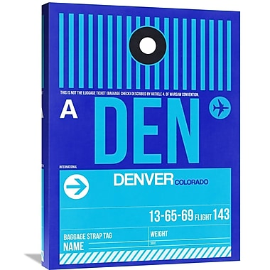 Naxart 'DEN Denver Luggage Tag 2' Graphic Art on Wrapped Canvas; 32'' H x 24'' W x 1.5'' D