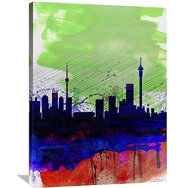Naxart 'Johannesburg Watercolor Skyline' Graphic Art on Wrapped Canvas; 40'' H x 30'' W x 1.5'' D