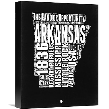 Naxart 'Arkansas Black and White Map' Textual Art on Wrapped Canvas; 16'' H x 12'' W x 1.5'' D