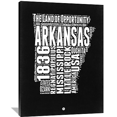 Naxart 'Arkansas Black and White Map' Textual Art on Wrapped Canvas; 48'' H x 36'' W x 1.5'' D