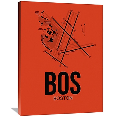 Naxart 'BOS Boston Airport' Graphic Art on Wrapped Canvas; 40'' H x 30'' W x 1.5'' D