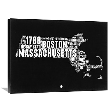 Naxart 'Massachusetts Map' Textual Art on Wrapped Canvas; 24'' H x 32'' W x 1.5'' D