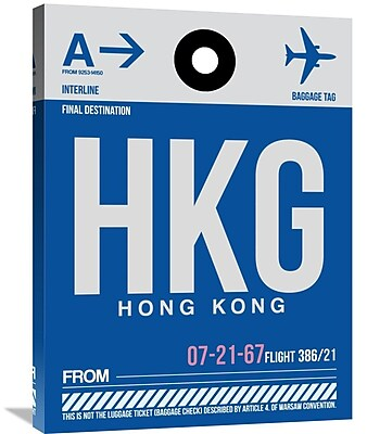 Naxart 'HKG Hog Kong Luggage Tag 1' Graphic Art on Wrapped Canvas; 32'' H x 24'' W x 1.5'' D