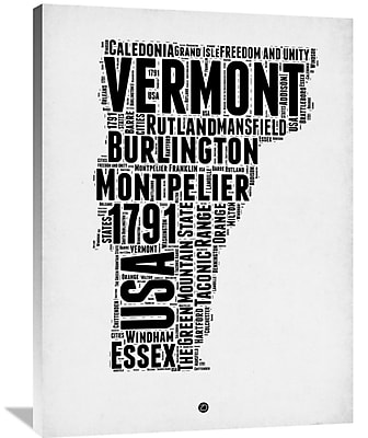 Naxart 'Vermont Word Cloud 2' Textual Art on Wrapped Canvas; 40'' H x 30'' W x 1.5'' D