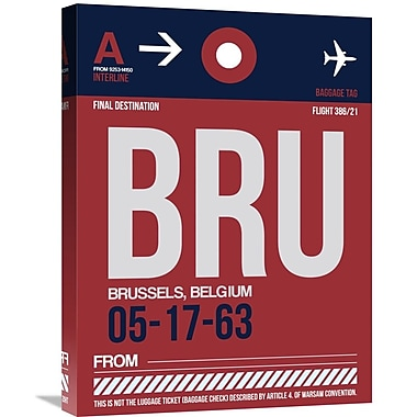 Naxart 'BRU Brussels Luggage Tag 2' Graphic Art on Wrapped Canvas; 24'' H x 18'' W x 1.5'' D