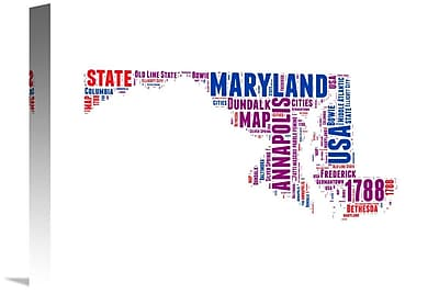 Naxart 'Maryland Word Cloud Map' Textual Art on Wrapped Canvas; 12'' H x 16'' W x 1.5'' D