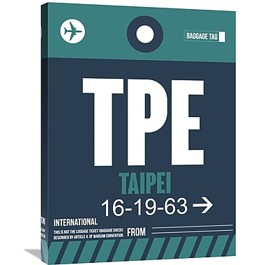 Naxart 'TPE Taipei Luggage Tag 1' Graphic Art on Wrapped Canvas; 32'' H x 24'' W x 1.5'' D