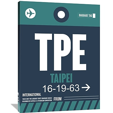 Naxart 'TPE Taipei Luggage Tag 1' Graphic Art on Wrapped Canvas; 48'' H x 36'' W x 1.5'' D