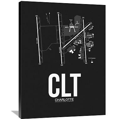 Naxart 'CLT Charlotte Airport' Graphic Art on Wrapped Canvas; 40'' H x 30'' W x 1.5'' D