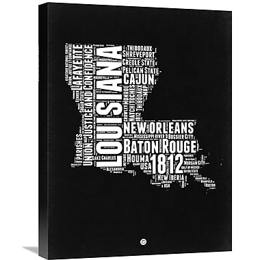Naxart 'Louisiana Map' Textual Art on Wrapped Canvas; 24'' H x 18'' W x 1.5'' D