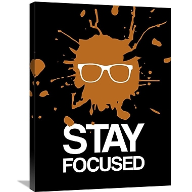 Naxart 'Stay Focused Splatter Poster 3' Graphic Art on Wrapped Canvas in Brown