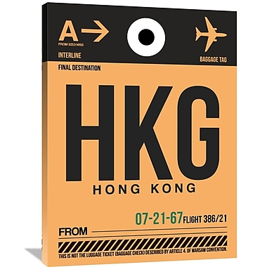Naxart 'HKG Hog Kong Luggage Tag 2' Graphic Art on Wrapped Canvas; 40'' H x 30'' W x 1.5'' D