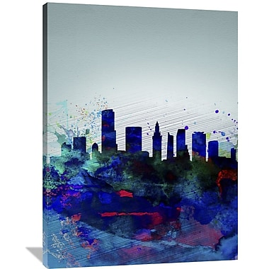 Naxart 'Miami Watercolor Skyline' Graphic Art on Wrapped Canvas; 48'' H x 36'' W x 1.5'' D