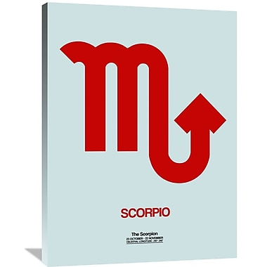 Naxart 'Scorpio Zodiac Sign' Textual Art on Wrapped Canvas in Red; 40'' H x 30'' W x 1.5'' D