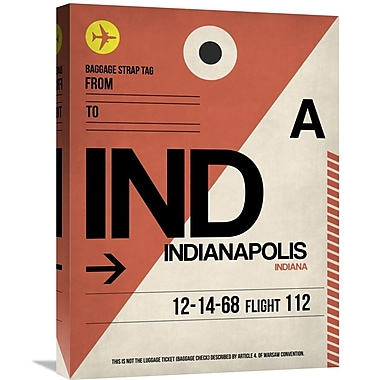 Naxart 'IND Indianapolis Luggage Tag 1' Graphic Art on Wrapped Canvas; 24'' H x 18'' W x 1.5'' D