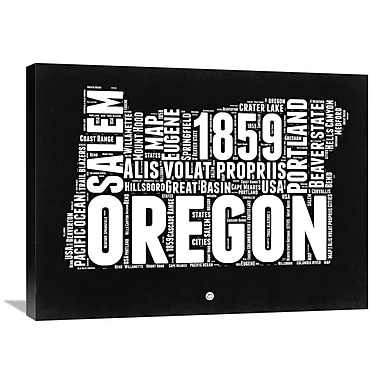Naxart 'Oregon Black and White Map' Textual Art on Wrapped Canvas; 24'' H x 32'' W x 1.5'' D