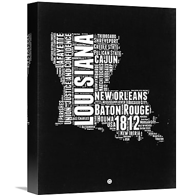 Naxart 'Louisiana Map' Textual Art on Wrapped Canvas; 16'' H x 12'' W x 1.5'' D
