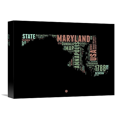 Naxart 'Maryland Word Cloud 1' Textual Art on Wrapped Canvas; 12'' H x 16'' W x 1.5'' D