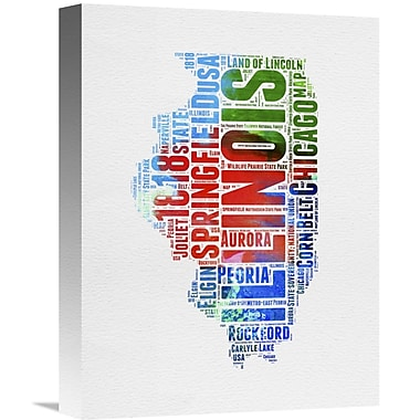 Naxart 'Illinois Watercolor Word Cloud' Textual Art on Wrapped Canvas; 16'' H x 12'' W x 1.5'' D
