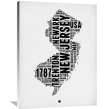 Naxart 'New Jersey Word Cloud 2' Textual Art on Wrapped Canvas; 40'' H x 30'' W x 1.5'' D
