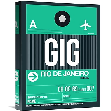 Naxart 'GIG Rio De Janeiro Luggage Tag 1' Graphic Art on Wrapped Canvas; 16'' H x 12'' W x 1.5'' D
