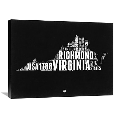 Naxart 'Virginia Map' Textual Art on Wrapped Canvas; 24'' H x 32'' W x 1.5'' D