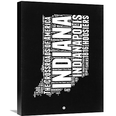Naxart 'Indiana Black and White Map' Textual Art on Wrapped Canvas; 24'' H x 18'' W x 1.5'' D