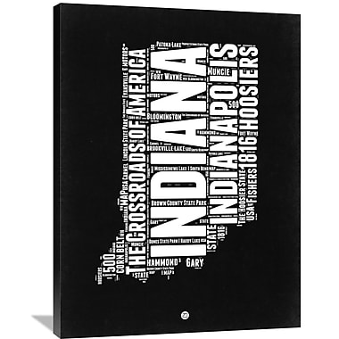 Naxart 'Indiana Black and White Map' Textual Art on Wrapped Canvas; 40'' H x 30'' W x 1.5'' D