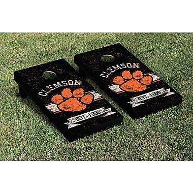 Victory Tailgate NCAA Vintage Version Banner Cornhole Game Set; Clemson Tigers