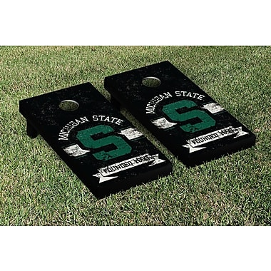 Victory Tailgate NCAA Vintage Version Banner Cornhole Game Set; Michigan State Spartans