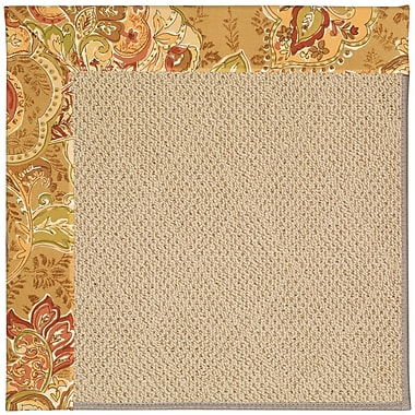 Capel Zoe Machine Tufted Bronze Flowers and Beige Indoor/Outdoor Area Rug; Square 4'
