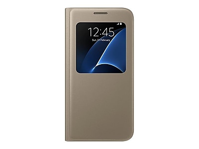 Samsung S-View Flip Cover for Samsung Galaxy S7, Gold (EF-CG930PFEGUS)