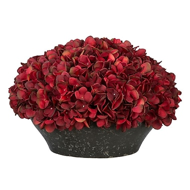 House of Silk Flowers Hydrangea Centerpiece in Bowl; Burgundy
