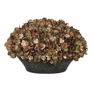 House of Silk Flowers Hydrangea Centerpiece in Bowl; Coffee/Sage