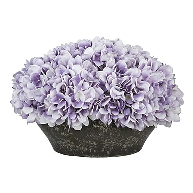 House of Silk Flowers Hydrangea Centerpiece in Bowl; Lavender