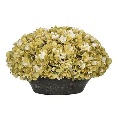 House of Silk Flowers Hydrangea Centerpiece in Bowl; Sage/Cream