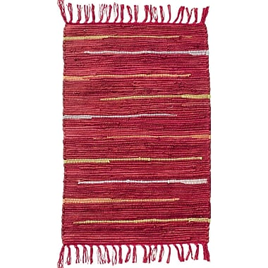 CLM Canyon Hand Woven Cotton Red Area Rug; Rectangle 2'6'' x 4'2''
