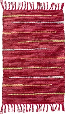 CLM Canyon Hand Woven Cotton Red Area Rug; Rectangle 2' x 3'