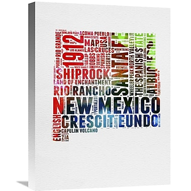 Naxart 'New Mexico Watercolor Word Cloud' Textual Art on Wrapped Canvas; 24'' H x 18'' W x 1.5'' D